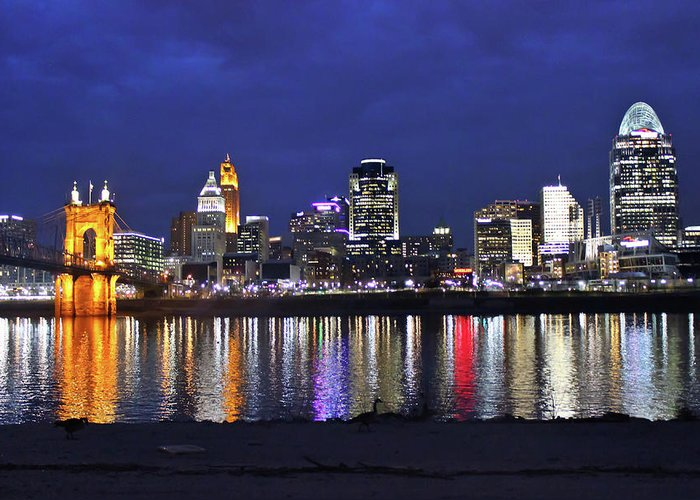 Skyline Greeting Card featuring the photograph Cincinnati Night Lights by Tonya Peters