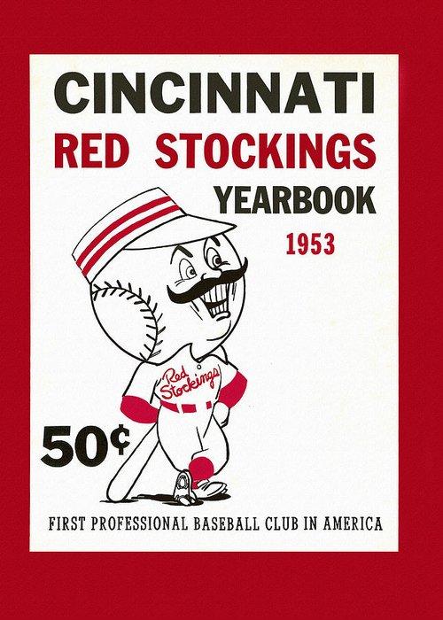 Cincinnati Greeting Card featuring the painting Cincinnati Reds 1953 Yearbook by John Farr