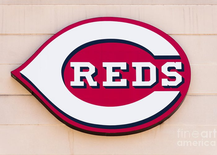 America Greeting Card featuring the photograph Cincinnati Reds Logo Sign by Paul Velgos