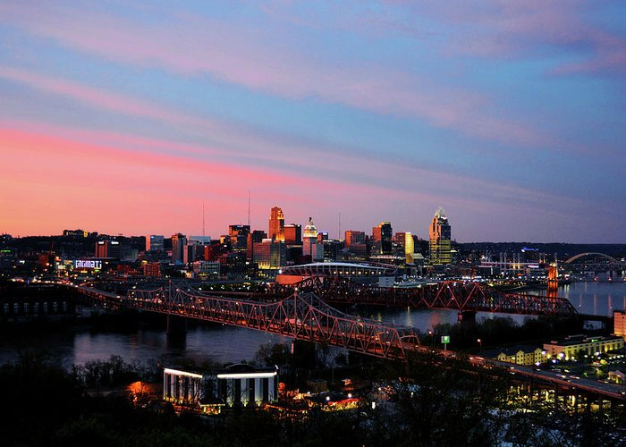 Cincinnati Greeting Card featuring the photograph Cincinnati Skyline by Nicole Boesenberg