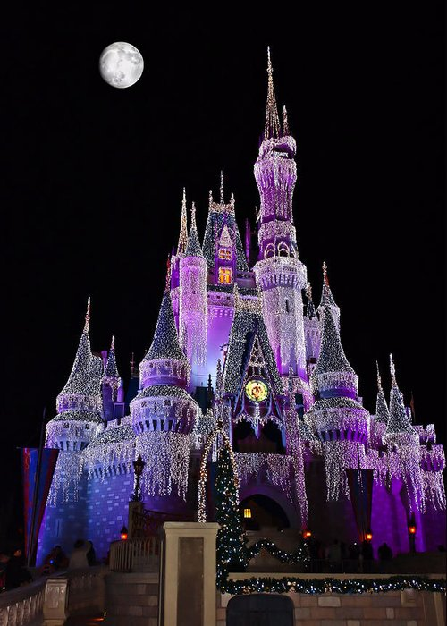 Cinderellas Castle Greeting Card featuring the photograph Cinderellas Castle At Night by Carmen Del Valle