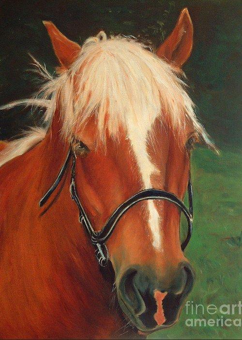Euqestrian Art Greeting Card featuring the painting Cinnamon The Horse by Enzie Shahmiri