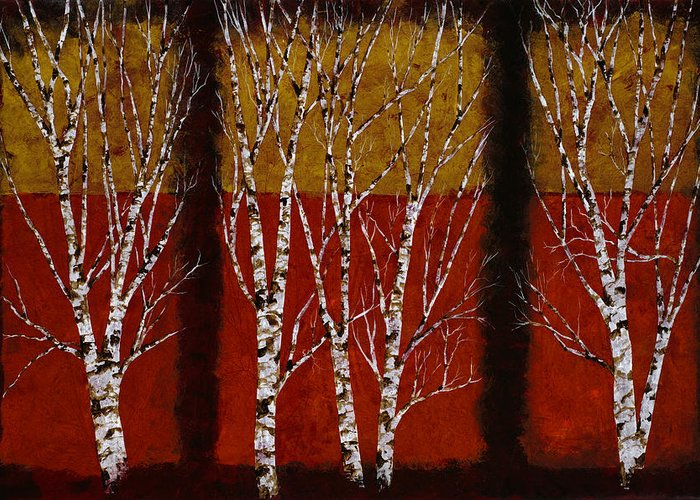 Birches Greeting Card featuring the painting Cinque Betulle by Guido Borelli