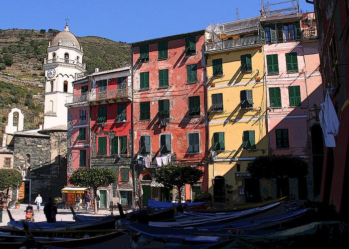 Cinque Terre Greeting Card featuring the photograph Cinque Terre Fishing Village by Jim Kuhlmann