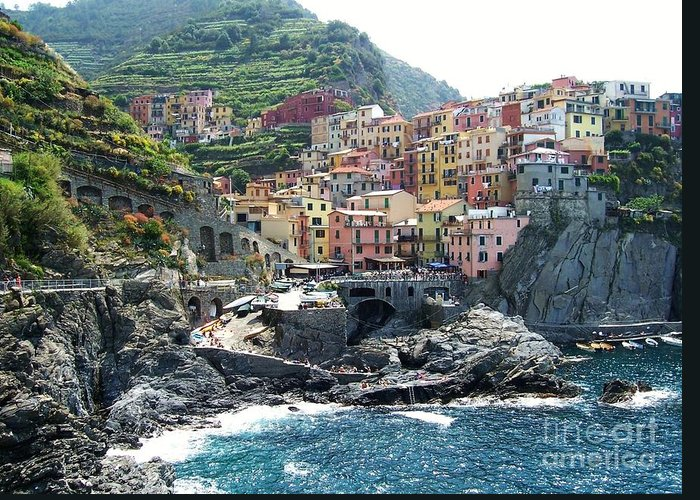 Europe Greeting Card featuring the photograph Cinque Terre Manarola by Marilyn Dunlap