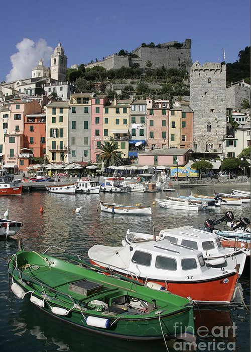 Italy Greeting Card featuring the photograph Cinqueterre Boats by Stan and Anne Foster