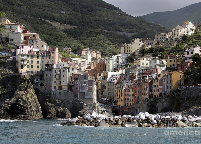 Italy Greeting Card featuring the photograph Cinqueterre From The Sea by Stan and Anne Foster