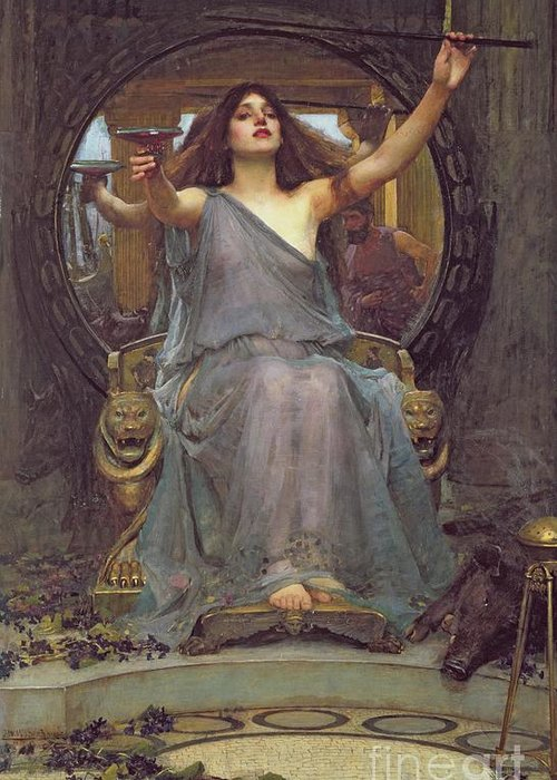 Circe Offering The Cup To Ulysses Greeting Card featuring the painting Circe Offering The Cup To Ulysses by John Williams Waterhouse
