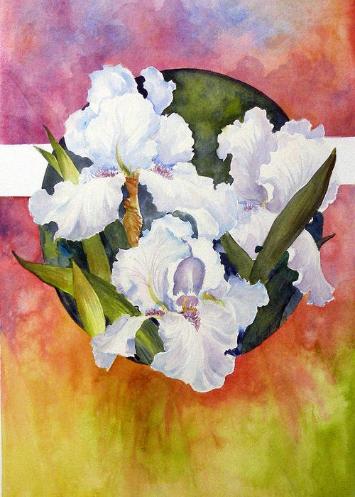 Watercolor;iris;floral;contemporary Floral;white Iris; Greeting Card featuring the painting Circle Of Irises by Lois Mountz