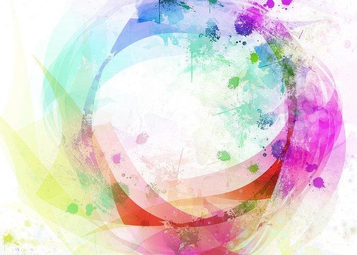 Abstract Greeting Card featuring the painting Circle Of Life by Setsiri Silapasuwanchai
