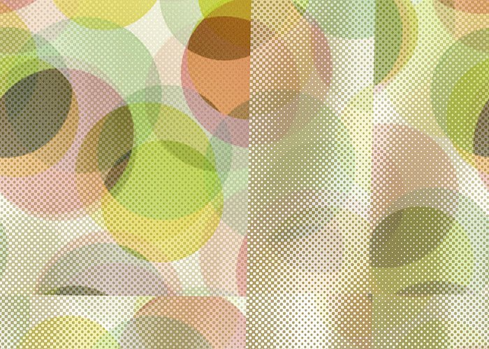 Abstract Greeting Card featuring the digital art Circle Pattern Overlay II by Ruth Palmer