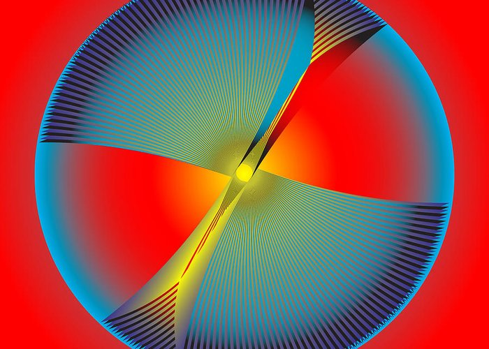 Multi-colored Greeting Card featuring the digital art Circle Study No. 104 by Alan Bennington