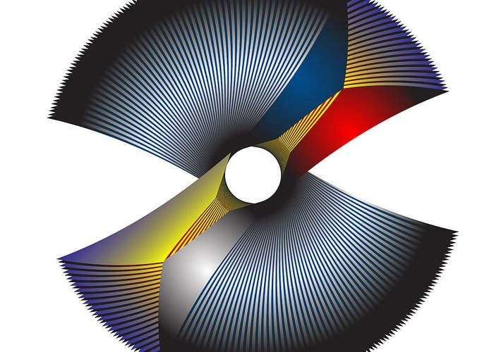 Multi-colored Greeting Card featuring the digital art Circle Study No. 205 by Alan Bennington