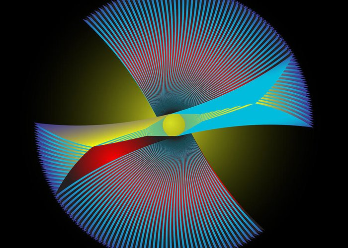 Multi-colored Greeting Card featuring the digital art Circle Study No. 206 by Alan Bennington