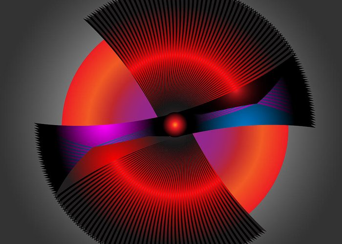 Multi-colored Greeting Card featuring the digital art Circle Study No. 207 by Alan Bennington