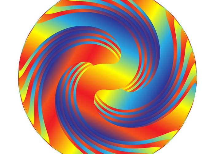 Multi-colored Greeting Card featuring the digital art Circle Study No. 231 by Alan Bennington