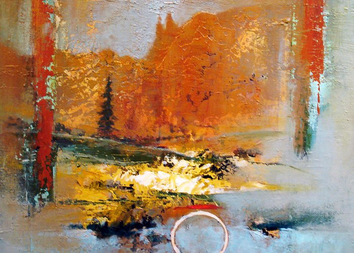 Landscape Greeting Card featuring the painting Circled Memory by Dale Witherow