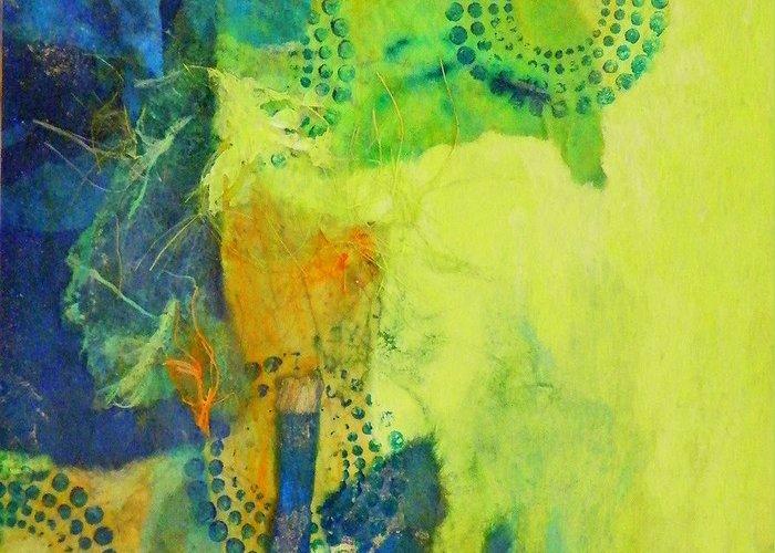 Mixed Media Greeting Card featuring the painting Circles 2 by Tara Milliken