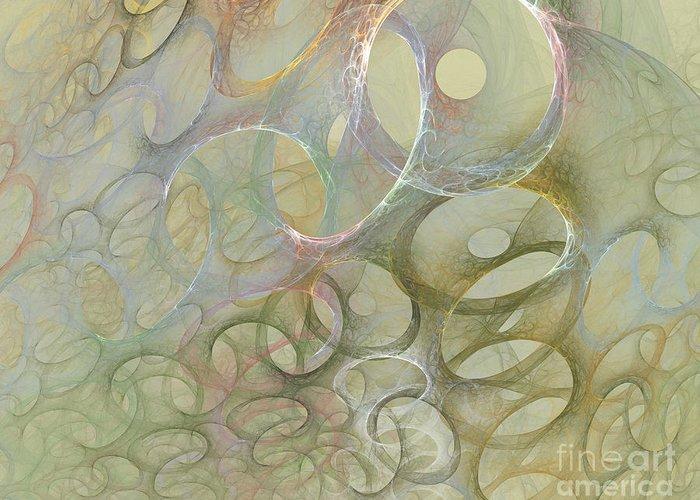 Fractal Greeting Card featuring the digital art Circles In Circles by Deborah Benoit