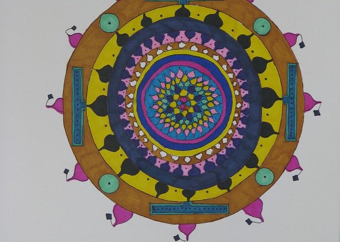 Free Hand Mandala Greeting Card featuring the mixed media Circles by James SheppardIII
