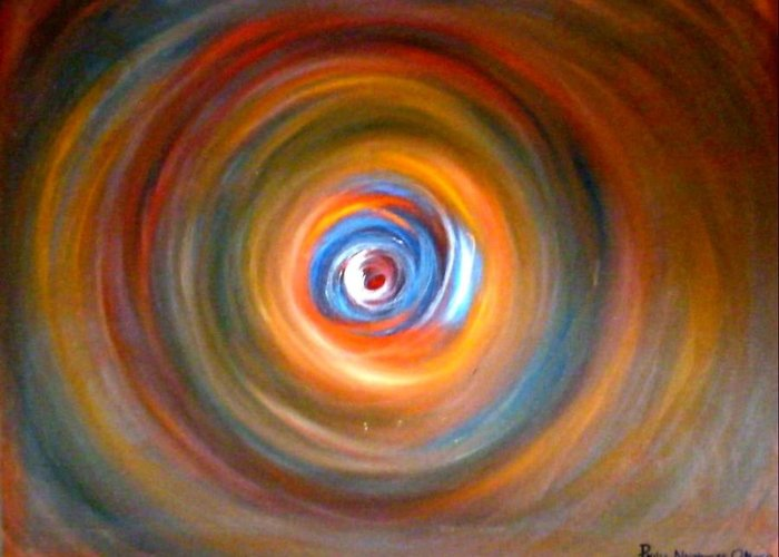 Circles Greeting Card featuring the painting Circles by Philip Okoro