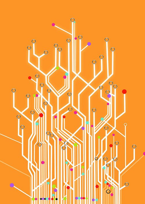 Abstract Greeting Card featuring the photograph Circuit Board Graphic by Setsiri Silapasuwanchai