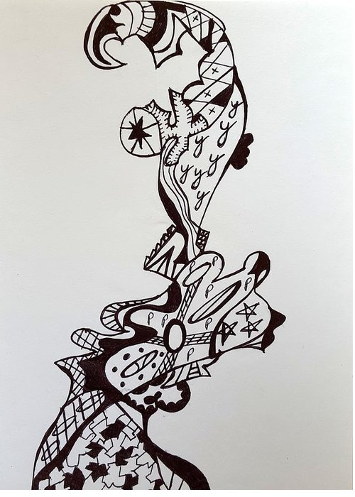 Ink Drawing Greeting Card featuring the drawing Circus 4 by Steven Stutz