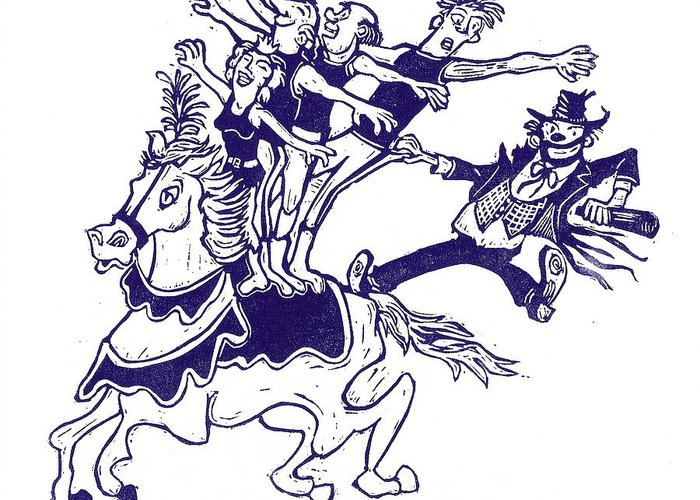 Horse Greeting Card featuring the painting Circus Acrobats On Horse With Clown by Barry Nelles Art