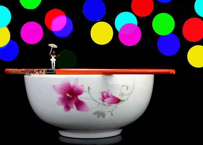 Circus Greeting Card featuring the photograph Circus Balance Game On Chopsticks by Paul Ge