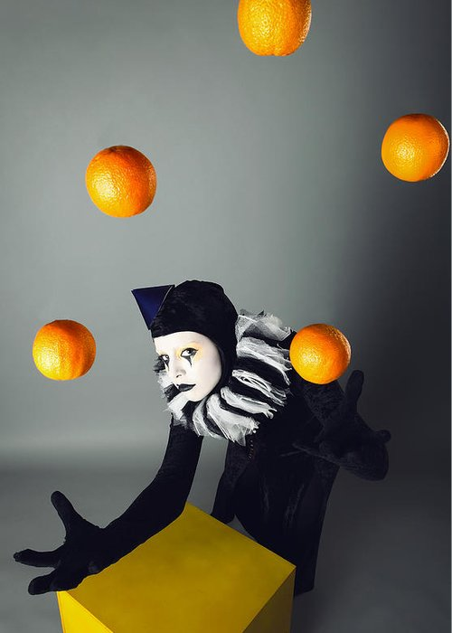 Actor Greeting Card featuring the digital art Circus Fashion Mime Juggles With Five Oranges. Photo. by Kireev Art