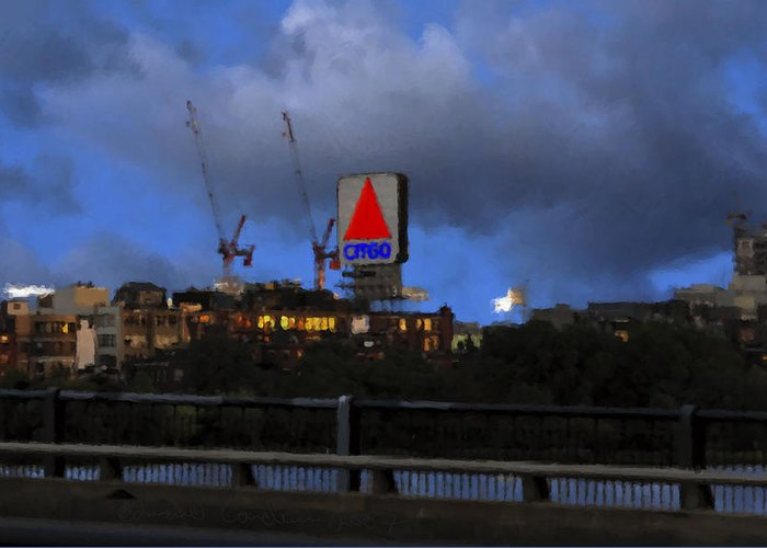 Citgo Sign Greeting Card featuring the digital art Citgo Sign by Edward Cardini