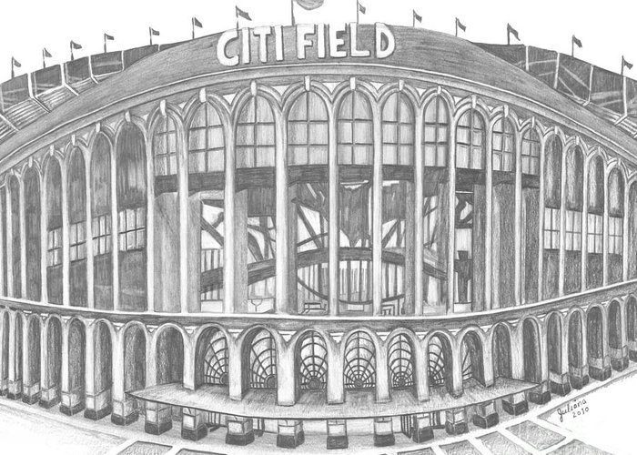 Citi Field Greeting Card featuring the drawing Citi Field by Juliana Dube