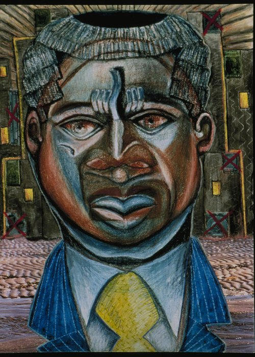 Wall Street Greeting Card featuring the drawing Citizen Of The World Aka Voodoo Economics by Barbara Nesin