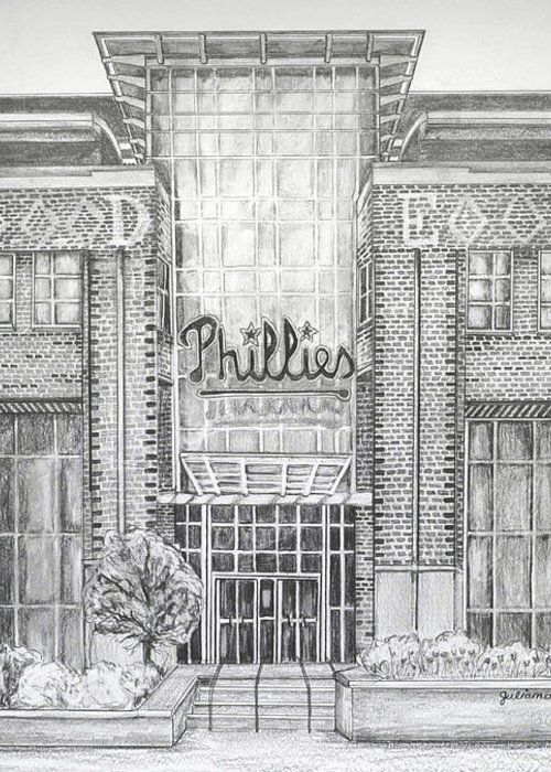 Citizens Bank Park Greeting Card featuring the drawing Citizens Bank Park by Juliana Dube