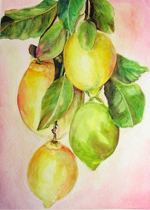Still Life Greeting Card featuring the painting Citrons by Muriel Dolemieux