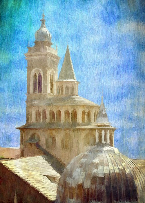 Above Greeting Card featuring the painting Citta Alta From Above by Jeffrey Kolker