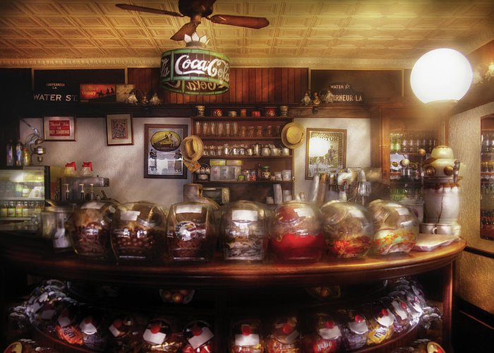 Savad Greeting Card featuring the photograph City - Ny 77 Water Street - The Candy Store by Mike Savad