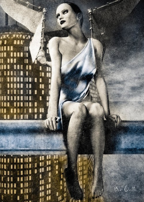 Angel Greeting Card featuring the digital art City Angel -2 by Bob Orsillo