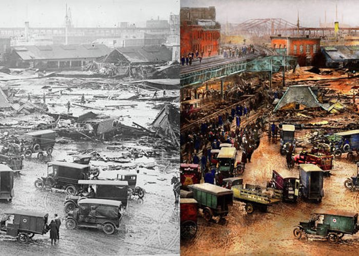 City - Boston Ma - The Great Molasses Flood 1919 - Side By ...