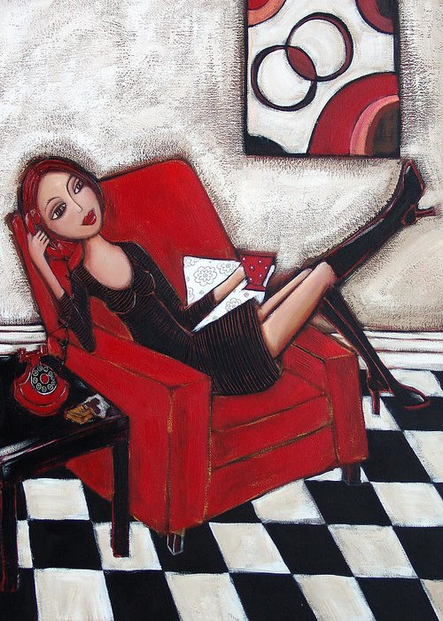 Red Greeting Card featuring the painting City Chic by Denise Daffara