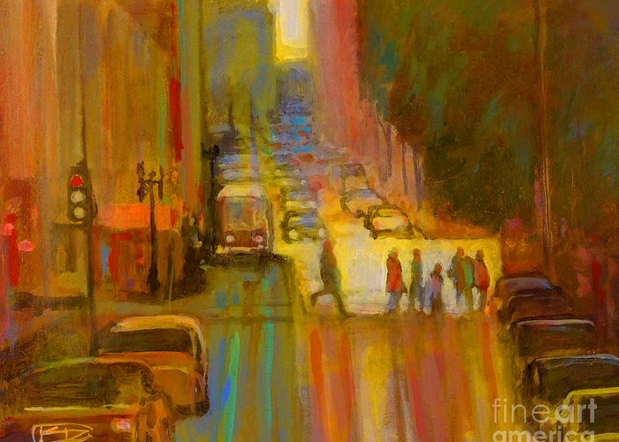 City Greeting Card featuring the painting City Crosswalk by Kip Decker