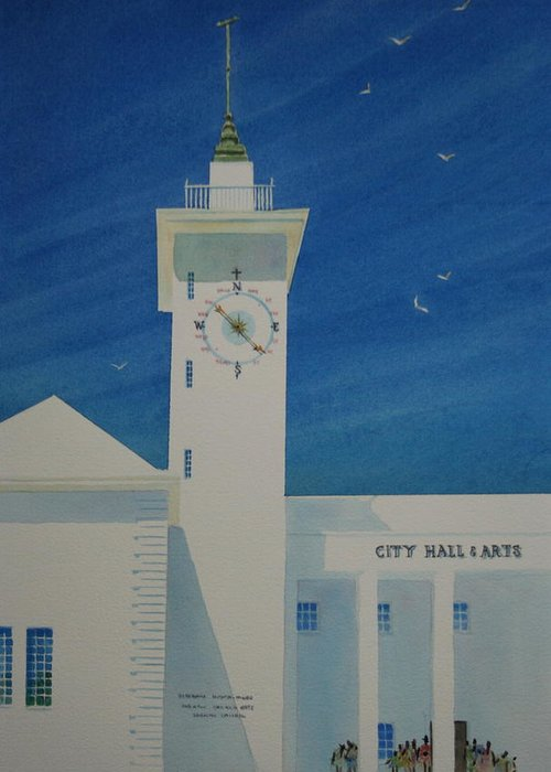Bermuda Greeting Card featuring the painting City Hall And Arts Building Bermuda by Tom Harris