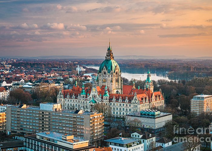 Aerial Greeting Card featuring the photograph City Hall Of Hannover, Germany by Michael Abid
