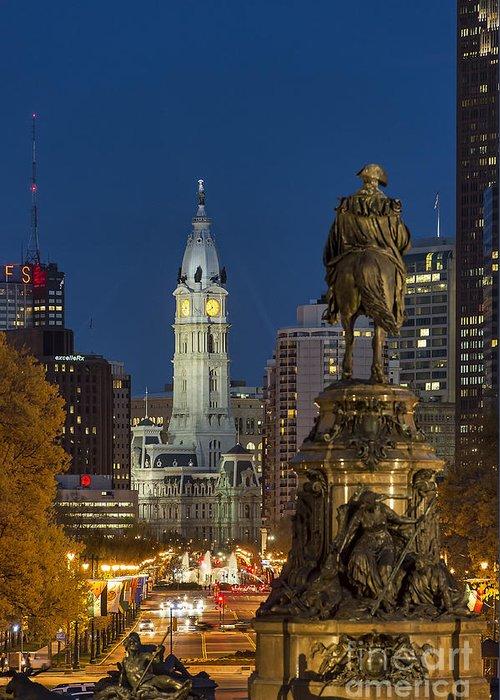 Art Museum Circle Greeting Card featuring the photograph City Hall Philadelphia by John Greim