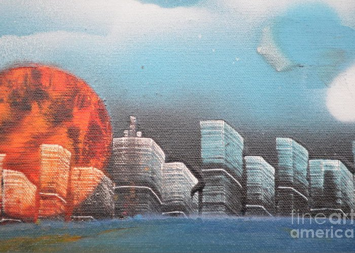 City Greeting Card featuring the painting City In The Day. by Zack Anderson