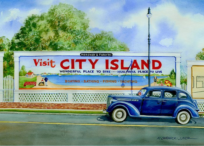 City Island Greeting Card featuring the painting City Island Billboard by Marguerite Chadwick-Juner