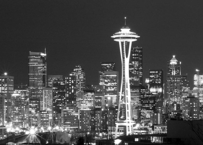 Seattle Greeting Card featuring the photograph City Lights 1 by John Gusky
