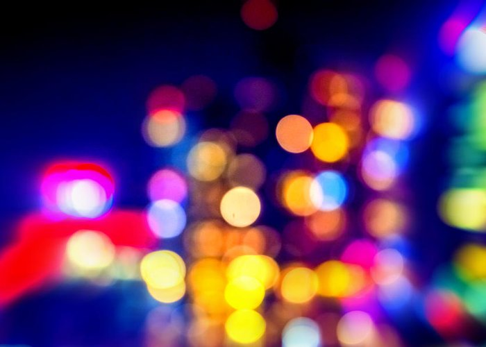 Abstract Greeting Card featuring the photograph City Lights by Jijo George