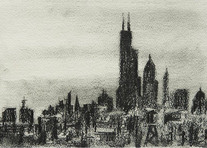 City Greeting Card featuring the drawing City Love I by William Russell Nowicki