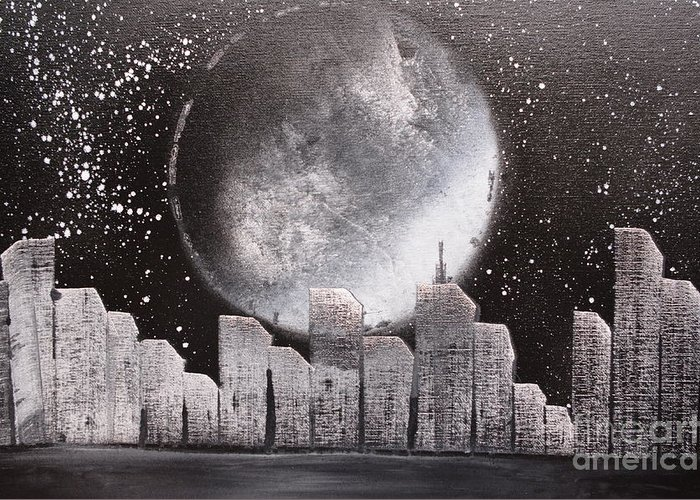 City Greeting Card featuring the painting City Night Scape by Zack Anderson